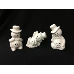 Schneemann mit Löcher für Teelicht